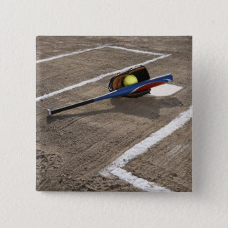 Softball, softball glove and bat at home plate 15 cm square badge