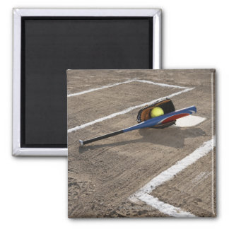 Softball, softball glove and bat at home plate magnet