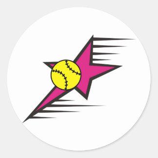 Softball Star Classic Round Sticker