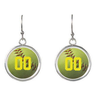 Softball Stitch with Team Number- Earrings