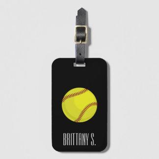 Softball Style Custom Name Luggage Tag