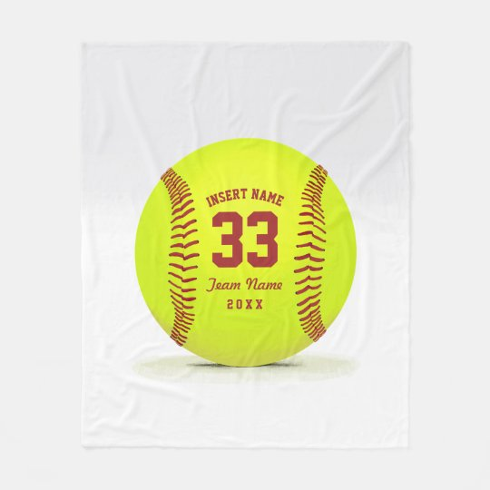 Softball Team Custom Fleece Blanket