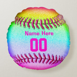 Softball Team Gifts with Her Name and Number Round Cushion