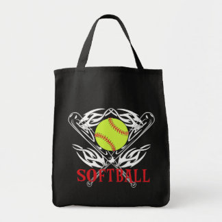 Softball Tribal Grocery Tote Bag