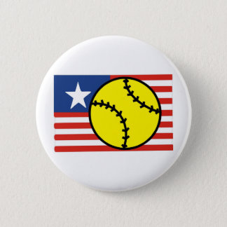 Softball USA 6 Cm Round Badge