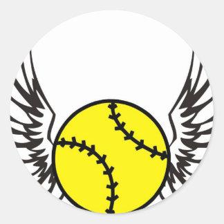 softball Wings Classic Round Sticker