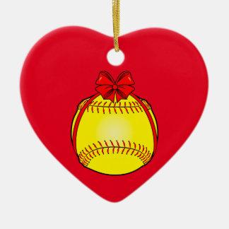 Softball with a Bow at Christmas Christmas Ornament