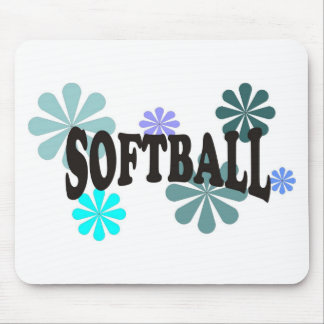 Softball with Blue Flowers Mousepad
