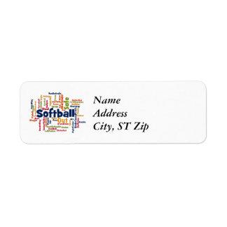 Softball Word Cloud Return Address Label