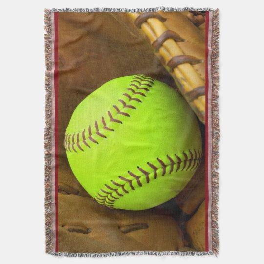 Softball Yellow Fast Pitch 8U 10U Throw Blanket