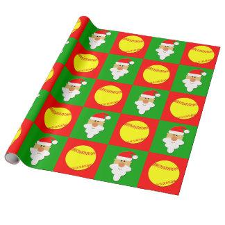 Softballs and Santa Fastpitch Softball Christmas Wrapping Paper