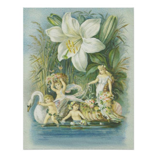 Softness - Fairies, Swan and Flower Poster