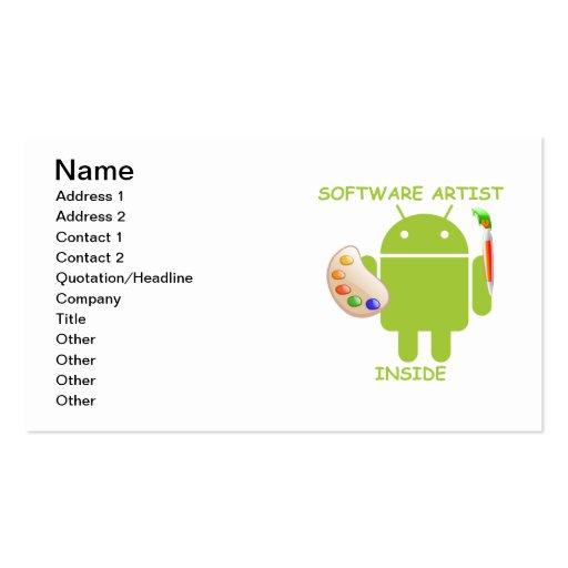 Software Artist Inside (Bugdroid Brush Palette) Business Card Template