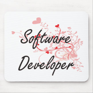 Software Developer Artistic Job Design with Hearts Mouse Pad