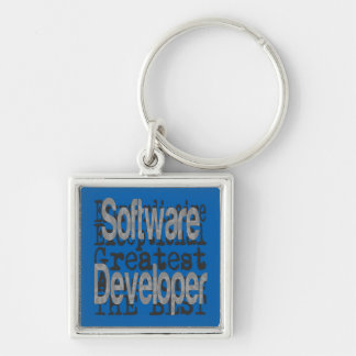 Software Developer Extraordinaire Silver-Colored Square Key Ring