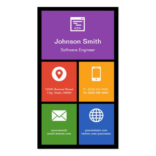 Software Engineer - Colorful Tiles Creative Business Card Templates