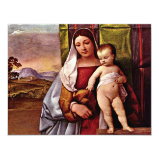 Sogen. Virgin And Child ( Gypsy Madonna) By Tizian 11 Cm X 14 Cm Invitation Card