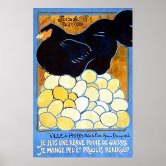 Soignons la basse-cour ~ Vintage French WW1. Print