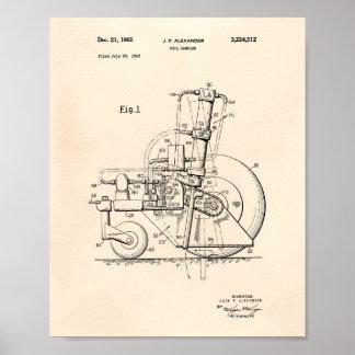 Soil Sampler 1965 Patent Art Old Peper Poster