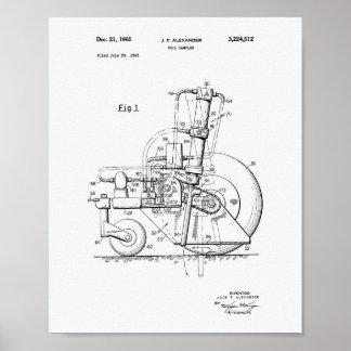 Soil Sampler 1965 Patent Art White Paper Poster