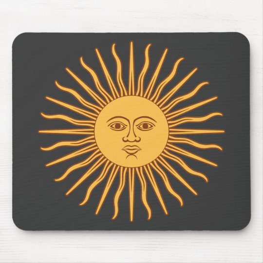 Sol de Mayo Gold Sun Face and Rays on Black Mouse Mat