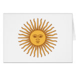 Sol de Mayo Sun of May - Gold Sun Face Symbol Note Card
