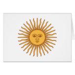 Sol de Mayo Sun of May - Gold Sun Face Symbol Note Card