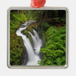 Sol Duc Falls in Olympic National Park in Silver-Colored Square Decoration
