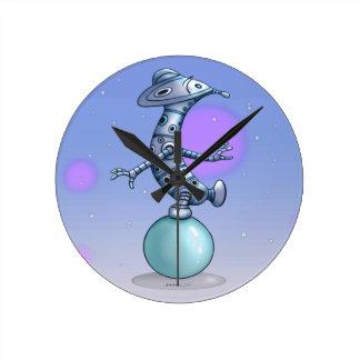 SOL ROBOT ALIEN CARTOON MEDIUM ROUND CLOCK 2