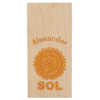 Sol The Sun Space Geek Yellow And Orange Star Wood USB 2.0 Flash Drive