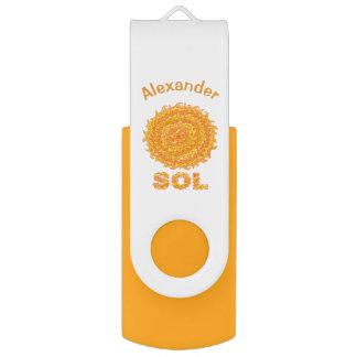Sol The Sun Space Geek Yellow And Orange Star Swivel USB 2.0 Flash Drive