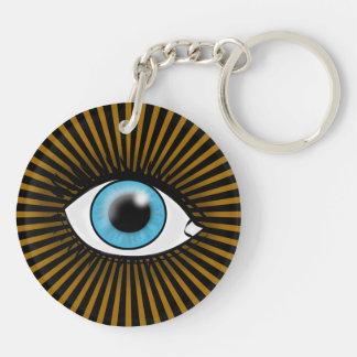 Solar Blue Eye Double-Sided Round Acrylic Key Ring