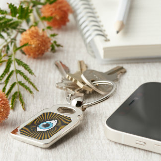 Solar Blue Eye Silver-Colored Rectangle Key Ring