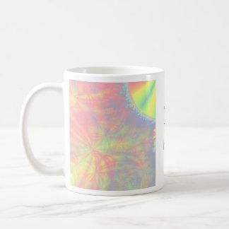 Solar Burst, Fractal Art. Colorful. Basic White Mug