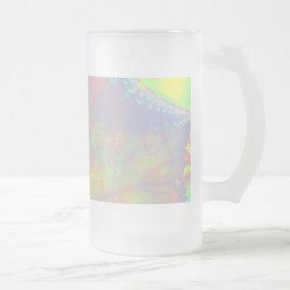 Solar Burst, Fractal Art. Colorful. 16 Oz Frosted Glass Beer Mug