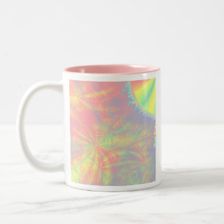 Solar Burst, Fractal Art. Colorful. Two-Tone Coffee Mug