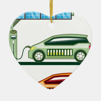 Solar Charging Station Electric Vehicle Christmas Ornament