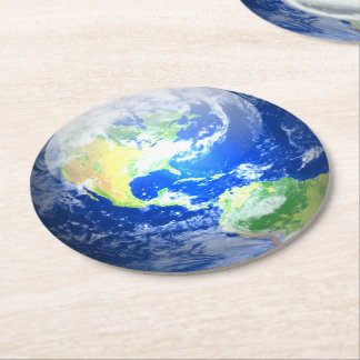 Solar Coasters - Paper - Earth, set of 6 Round Paper Coaster