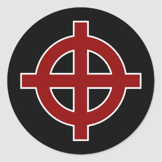 Solar Cross (red, white & black) Classic Round Sticker