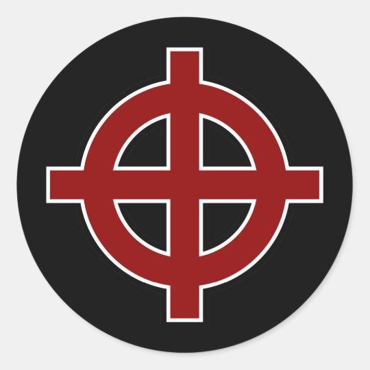 Solar Cross (red, white & black) Classic Round