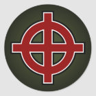 Solar Cross (red, white & black on green) Classic Round Sticker