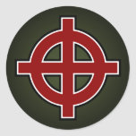 Solar Cross (red, white & black on green) Round Stickers