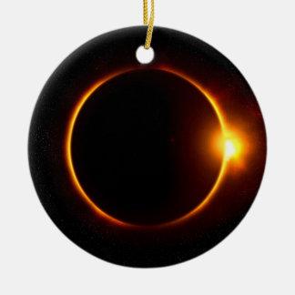 Solar Eclipse Dark Sun & Moon Christmas Ornament