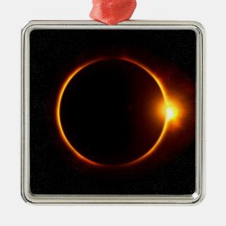 Solar Eclipse Dark Sun & Moon Silver-Colored Square Decoration