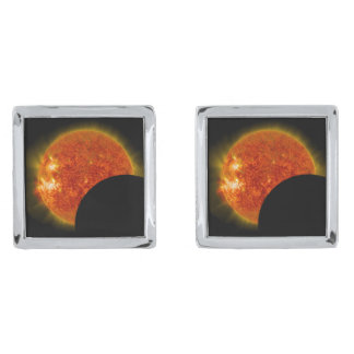 Solar Eclipse in Progress Silver Finish Cuff Links