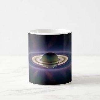 Solar Eclipse Of Saturn from Cassini Spacecraft Basic White Mug