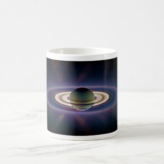 Solar Eclipse Of Saturn from Cassini Spacecraft Basic White Mug