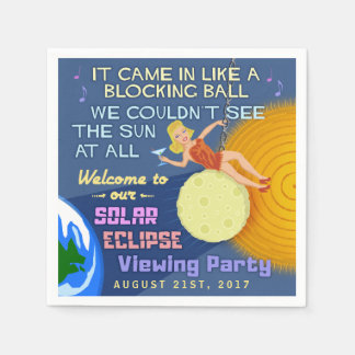 Solar Eclipse Party Funny Retro Sun Viewing 2017 Disposable Napkin