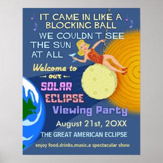 Solar Eclipse Party Funny Retro Sun Viewing 2017 Poster