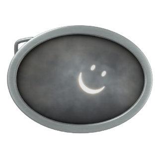 Solar Eclipse Smiley Face Oval Belt Buckle